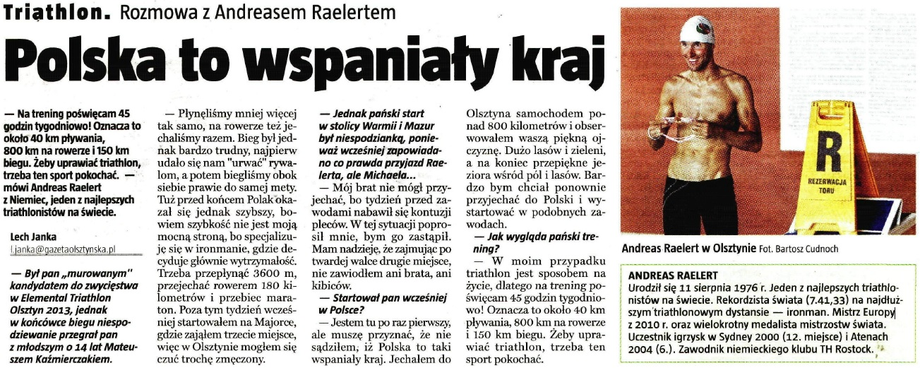 Wywiad z Andreasem Raelert'em - Gazeta Olsztyńska
